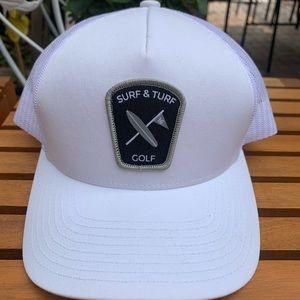 SURF & TURF   GOLF   WHITE & BLACK   HAT